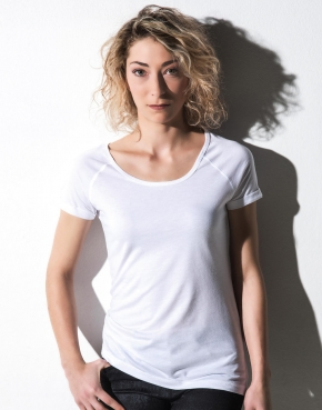 Emily - Viscose-Cotton Rolled Up Raglan T-Shirt